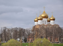 Construction of the assumption Cathedral, Yaroslavl. Russia, Golden ring Royalty Free Stock Image