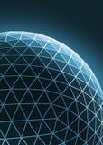 Construction asymétrique élégante bleue de techno contemporaine, objet dimensionnel abstrait avec les lignes reliées et points photos stock