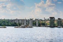 Construction of automobile bridges across the Dnieper River Stock Photos