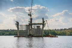 Construction of automobile bridges across the Dnieper River Royalty Free Stock Photography