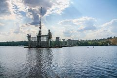 Construction of automobile bridges across the Dnieper River Stock Photography