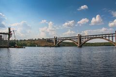 Construction of automobile bridges across the Dnieper River Royalty Free Stock Photo