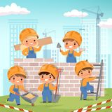 Construction background. Little kids making some work at construction build house vector cartoon background royalty free stock image