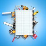 Construction background with notebook and tools 3d render on blu. Construction background with notebook and tools 3d render on Royalty Free Stock Photo