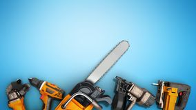 Construction background with tools 3d render on blue. Construction background with tools 3d render Royalty Free Stock Photos