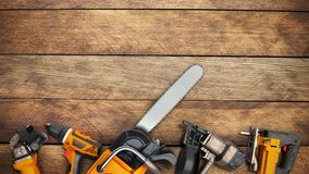 Construction background with tools 3d render on wood flor. Construction background with tools 3d render Stock Images