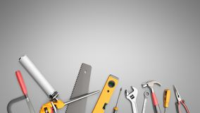 Construction background with tools 3d render on grey. Construction background with tools 3d render Stock Photo