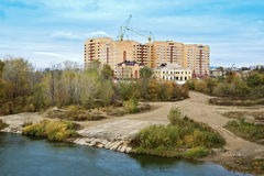 Construction on the banks of the River Ural, Orenburg Royalty Free Stock Photo