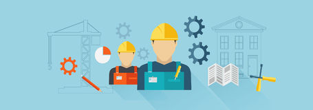 Construction banner, Builder. Vector for your ideas Stock Image