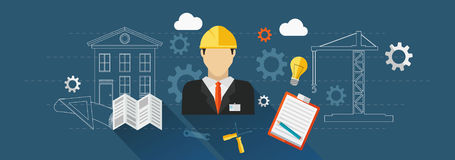 Construction banner, Builder. Vector for your ideas Stock Photo