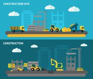 Construction Banner Set. Construction horizontal banner set with flat building tools elements isolated vector illustration Royalty Free Stock Image
