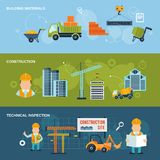 Construction Banners Set. Construction horizontal banners set with building materials technical inspection  vector illustration Royalty Free Stock Images