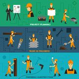 Construction Banners Set. Construction horizontal banners set with project planning work in progress finishing elements  vector illustration Royalty Free Stock Photos