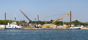 Construction barge Stock Photo