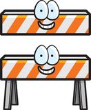Construction Barricade. A white and orange construction barricade smiling Stock Photography