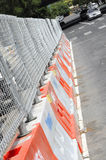Construction Barrier. Construction Road Barrier in Downtown Stock Photo