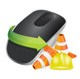 Construction barrier Wireless computer mouse Stock Photo