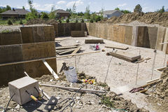 Construction basement forms excavation site Stock Image
