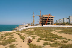 Construction on the beach. Stock Photo