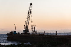 Construction Beach Pier Crane Royalty Free Stock Photos