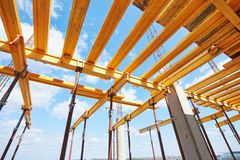 Construction beam falsework for concrete building Royalty Free Stock Photo