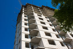 Construction of big apartment building Royalty Free Stock Image
