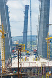 Construction of big guyed bridge in the Russian Vladivostok Royalty Free Stock Image