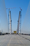 Construction of big guyed bridge in the Russian Vladivostok Royalty Free Stock Photo