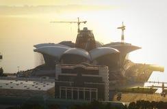 Construction of big shopping mall by the sea. 18.09.2017 Baku, Azerbaijan. royalty free stock image