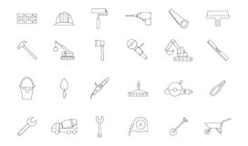 Construction black icons set. Set of 24 Construction black icons Royalty Free Stock Images