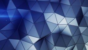 Construction bleue avec les lignes et le bas poly rendu de la forme 3D illustration stock