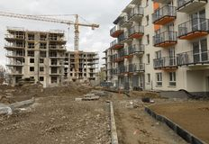 The construction of a block of flats - work site stock photography