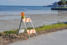 Construction blockade. Construction blockade on a beach walkway in Saint Pete, Florida Royalty Free Stock Photo