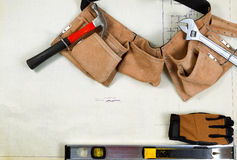 Construction blue print drawing with basic contractor tools Stock Photography