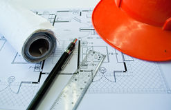 Construction blueprint Stock Image