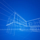 Construction blueprint on blue Royalty Free Stock Image