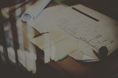 Construction Blueprint Project Working Planning Concept Royalty Free Stock Image