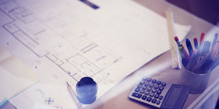 Construction Blueprint Project Working Planning Concept Royalty Free Stock Photos