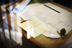 Construction Blueprint Project Working Planning Concept Stock Images