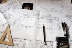 Construction blueprints Stock Photos