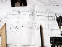 Construction blueprints Royalty Free Stock Photography