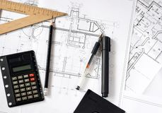 Construction blueprints Royalty Free Stock Photo