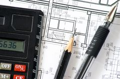 Construction blueprints Royalty Free Stock Photos