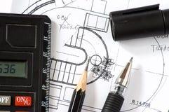 Construction blueprints stock photography