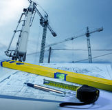 Construction and blueprints Stock Image