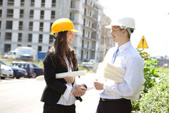 Construction, Blueprints and Handshake Royalty Free Stock Photo