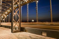 Construction of the Bolsheokhtinsky bridge across the Neva River Royalty Free Stock Image