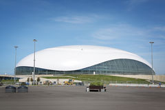 Construction of Bolshoy Ice Dome at XXII Winter Olympic Games Royalty Free Stock Images