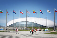 Construction of Bolshoy Ice Dome at XXII Winter Olympic Games Stock Photography