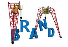 Construction brand 3D text. Construction brand crane building a blue 3D text stock illustration